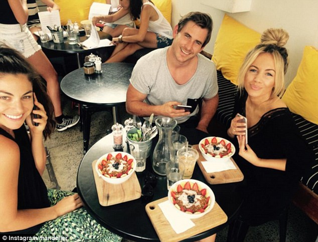 Spotted again: The Bachelorette Australia star Dave Billsborrow has been pictured with Samantha recently , enjoying a cafe catch-up with their common connection Jacqui Heeney
