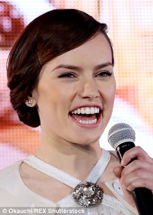 Got the giggles: Daisy cracked up as she addressed the audience, clearly excited about the forthcoming release of her first major film