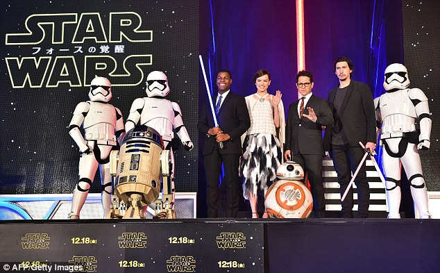 Stormtroopers assemble: R2-D2 and three soldiers joined the stars on stage