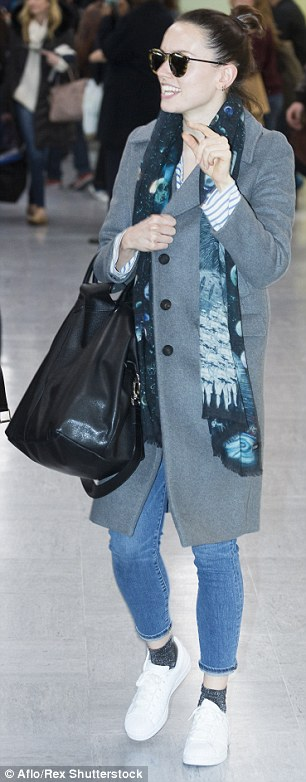 Off-duty: She was pictured arriving at Narita International Airport in Chiba, Japan, earlier on in the day