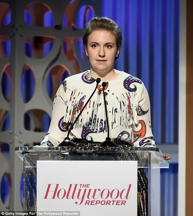 Making an impact: Lena Dunham was the first to address the audience at The Hollywood Reporter Women In Entertainment Breakfast on Wednesday