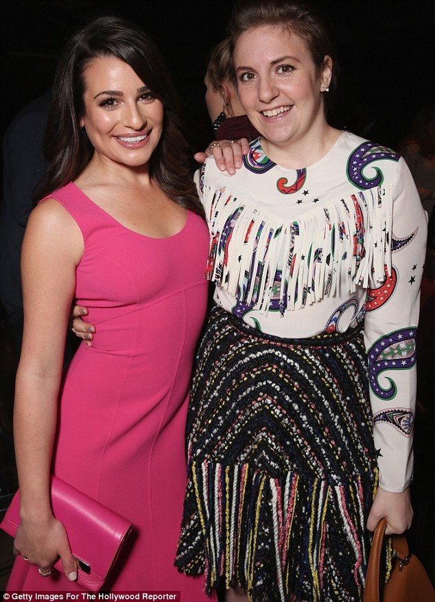 Catching up: The Girls creator posed alongside Glee star Lea Michele who looked pretty in pink