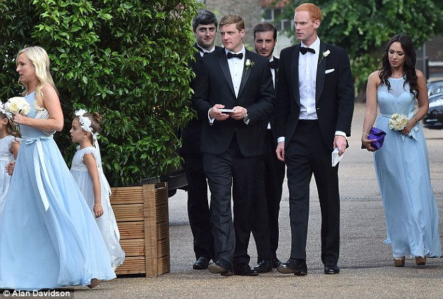 Special guests: Kyle's eldest daughter FarrahAldjufrie (far right) was a bridesmaid and youngest daughter Portia (seen left, trailing behind Brooke Binson) was a flower girl