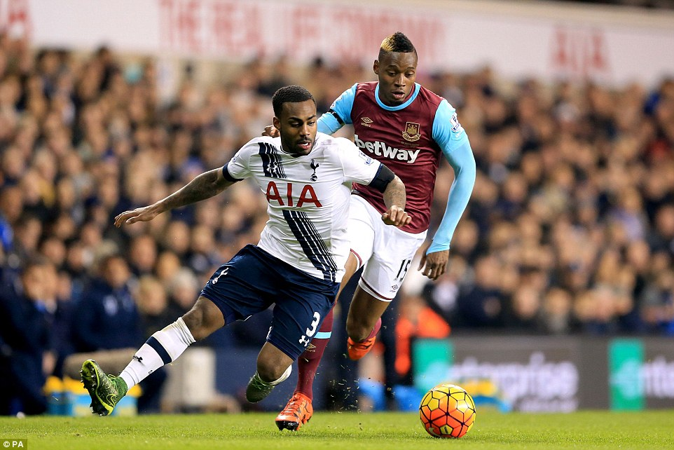 Rose shepherds the ball from Sakho as Tottenham, who remain unbeaten since the first game of the season, won comfortably