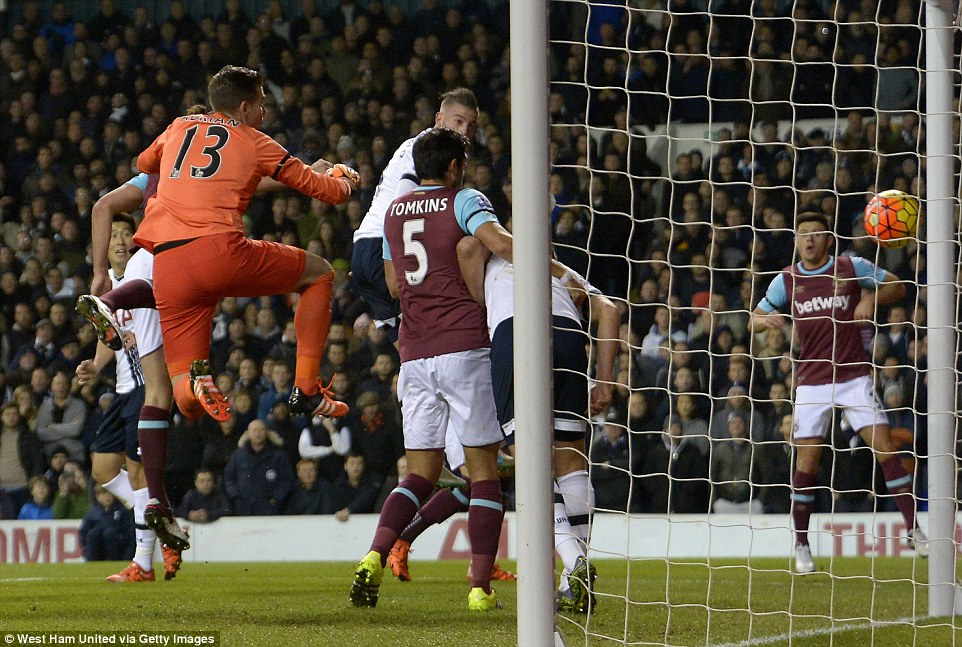 Alderweireld heads in at the near post amid some dreadful West Ham marking, with goalkeeper Adrian stranded in no man's land