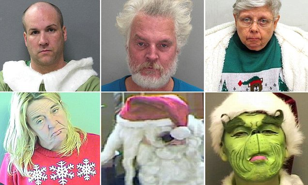 Bad Santa! Hilarious police mugshots show what happens when Christmas turns sour... and