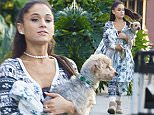 Picture Shows: Ariana Grande  December 09, 2015\n \n * Min web / online fee £150 For Set *\n \n Ariana Grande is seen leaving Gifts Et Al with her dog in Los Angeles, California. The 'Focus' singer went for comfort over style in a fair isle print onesie and ugg boots.\n \n Exclusive All Rounder\n UK RIGHTS ONLY\n Pictures by : FameFlynet UK © 2015\n Tel : +44 (0)20 3551 5049\n Email : info@fameflynet.uk.com