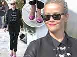 """Brentwood, CA - Reese Witherspoon stopped by Brentwood Pharmacy. The actress wore black skinny pants with a Draper James embellished """"beau"""" top layered with a leather sleeved bomber jacket. The cool mom rocked the look and completed her outfit with magenta heels and Ray-Bans. \n  \nAKM-GSI       December 9, 2015\nTo License These Photos, Please Contact :\nSteve Ginsburg\n(310) 505-8447\n(323) 423-9397\nsteve@akmgsi.com\nsales@akmgsi.com\nor\nMaria Buda\n(917) 242-1505\nmbuda@akmgsi.com\nginsburgspalyinc@gmail.com"""