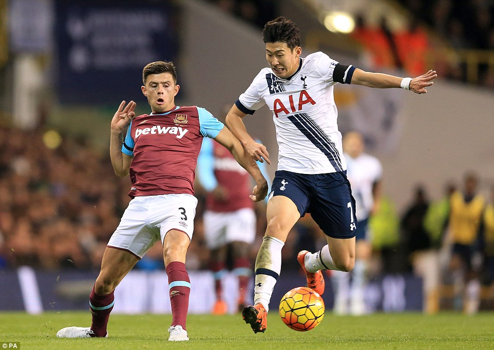 Aaron Cresswell looks to stop Son's progress, but Tottenham played some brilliant football at White Hart Lane