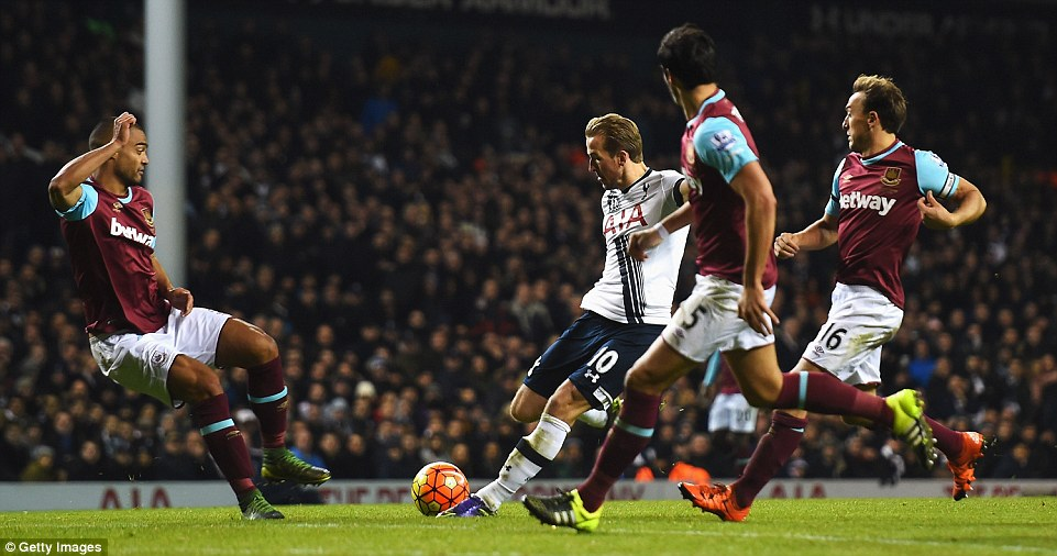 Kane hits the ball from the edge of the box, and he found the back of the net for the second time via an Adrian error