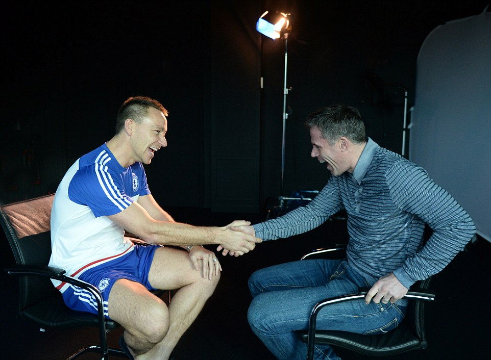 The pair shake hands as they reminisce on shared experiences and a rivalry between Chelsea and Liverpool which bristled for years