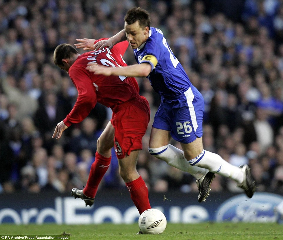 Terry and Carragher collide during the goalless Champions League semi-final first-leg at Stamford Bridge in 2005