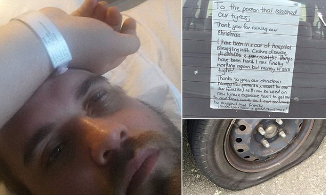 Christmas saved for sick Wellington man after vandal slashed his four tyres