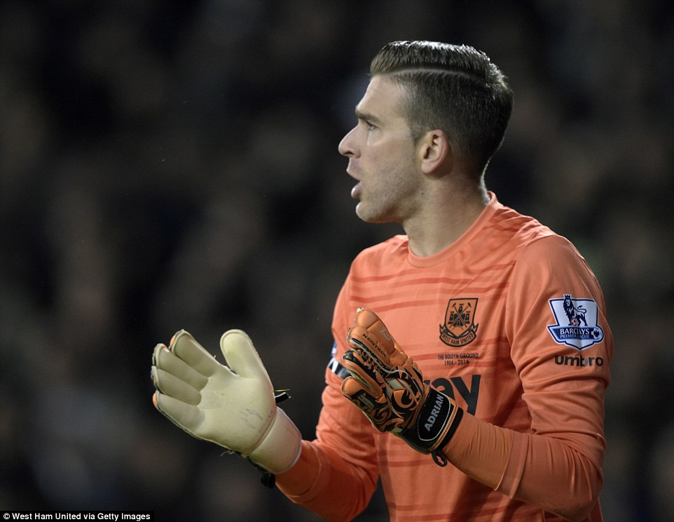 Adrian tries to fire up his team-mates, but the Hammers keeper was left exposed by his defence in the heavy defeat