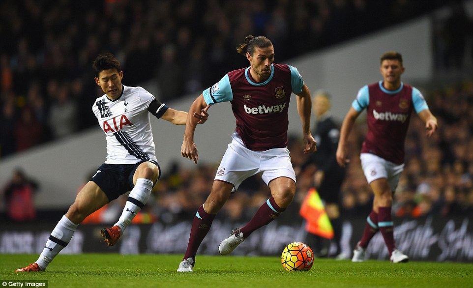 Andy Carroll looks to carry the ball away from Son, but the West Ham striker had little joy up front at White Hart Lane