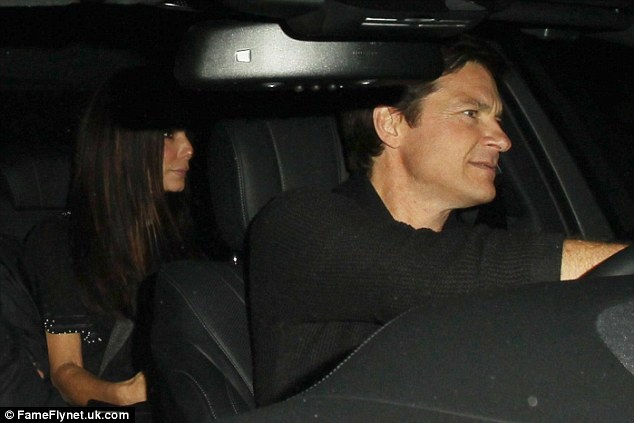 On the way out:There was no sign of Sandra Bullock's relatively new beau Bryan Randall as she and friend Jason Bateman, 46, left the restaurant on Saturday