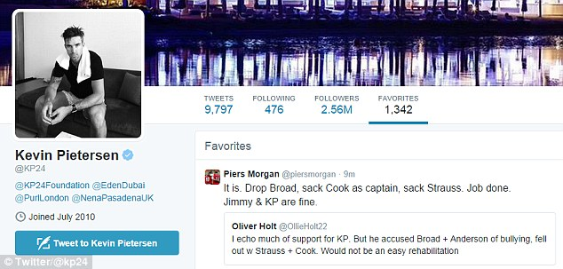 Pietersen favourited one of Piers Morgan's tweets that suggested Strauss should be sacked in a revamp