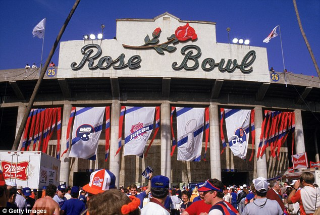 The iconic Rose Bowl in Pasadena, California on the day of Super Bowl XX in 1987