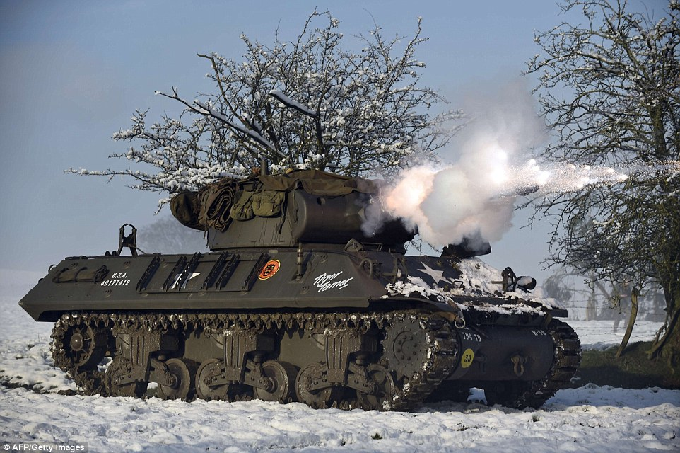 A U.S. M36 Jackson tank destroyer was also used for the 70th anniversary commemoration, which went ahead despite the snowy conditions