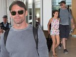 """Hugh Jackman was all smiles as he departed Adelaide on a Sunday afternoon. Hugh waved to waiting fans as he made his way through the airport with daughter Ava. \nHugh currently in Australia for his """"Broadway to Oz"""" shows. He played 3 sold out nights in Adelaide and now plays perth in 2 days. \n"""