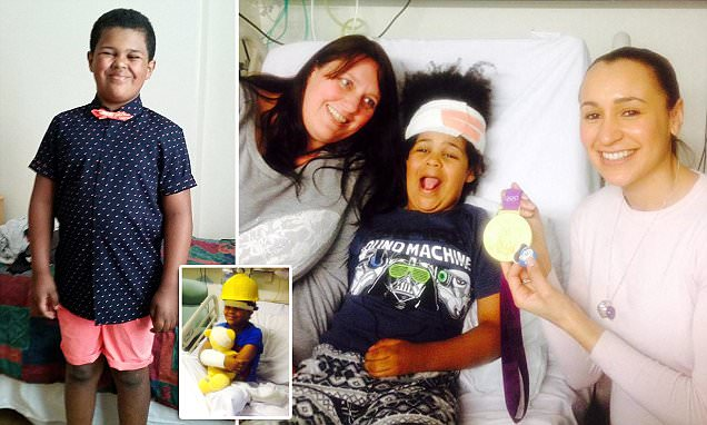 Boy, 9, suffers from rare disorder which saw his brain slip into his NECK