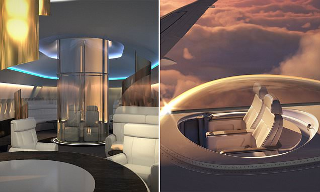 Planes designed with a glass SkyDeck seating area ON TOP of aircraft