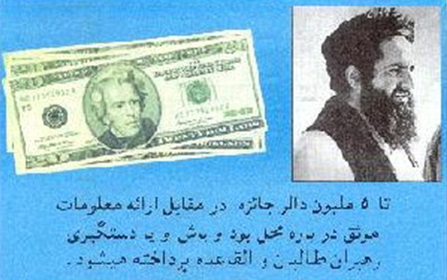 Bounty:Leaflets dropped by the US offering a reward for terrorist suspect, not Aamer