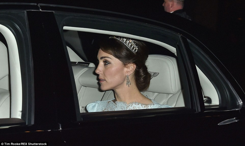 Kate's day out on Wednesday came just 12 hours after she was seen arriving at the Diplomatic Reception in the Cambridge Lover's Knot Tiara which was given to Princess Diana as a wedding present in 1981 by the Queen