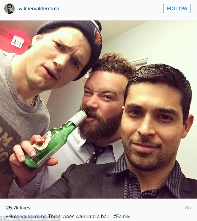 Having fun: While he did appear sober in the first picture, in another Instagram snap shared by Wilmer later, Danny can be seen swilling a beer mid-photo as he apparently mugs for the camera