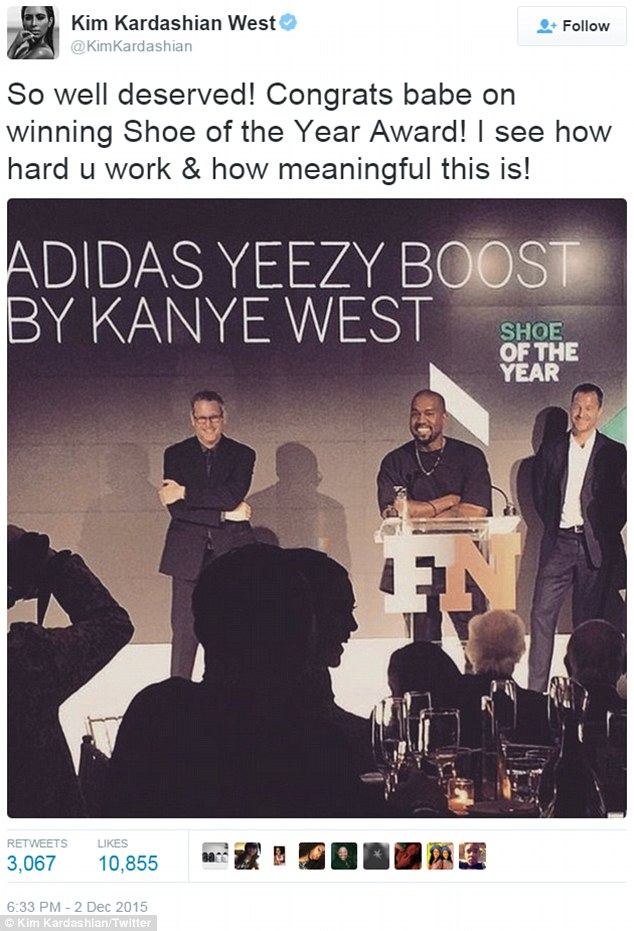 'Congrats babe!' On December 2, the fashion designer scored Shoe of the Year for his Adidas Yeezy Boost trainers at the Footwear News Achievement Awards