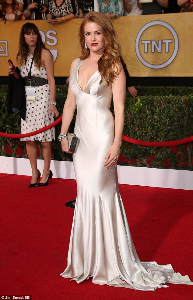 Glamazon: Isla is usually more glammed up on the red carpet, pictured at the SAG Awards last year