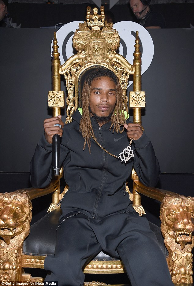 He's golden! Fetty Wap sat upon a gold throne as he showed off his chain necklace