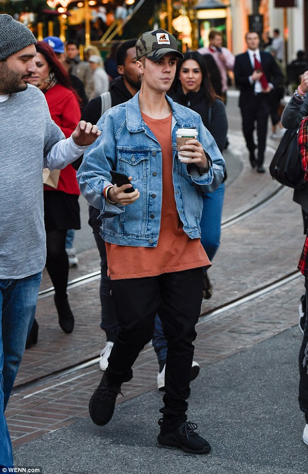 Out and about: Bieber was photographed while at The Grove in Los Angeles on Friday