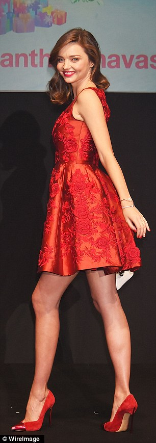 What a beauty! The 32-year-old model wore a bold red dress and matching heels for the show