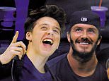 LOS ANGELES, CA - MAY 24:  (L-R) Brooklyn Beckham, David Beckham and  Romeo Beckham attend Game Three of the Western Conference Final during the 2014 Stanley Cup Playoffs at Staples Center on May 24, 2014 in Los Angeles, California.  (Photo by Noel Vasquez/GC Images)