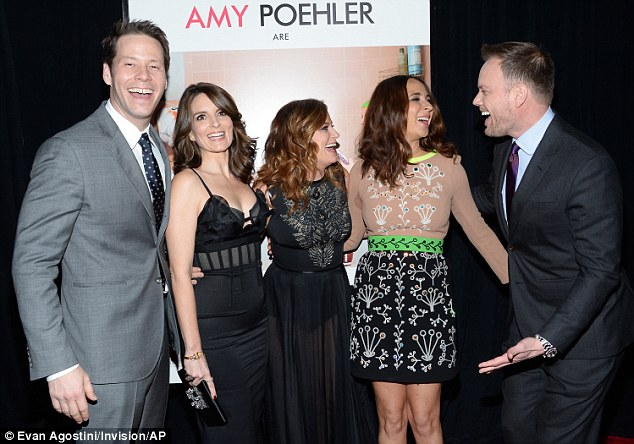 Happy: Sisters is about two siblings who decided to throw a huge party before their parents sell their house; (L) Ike, Tina Fey, Amy Poehler, Maya Rudolph and director Jason Moore on December 8 at the premiere in NYC