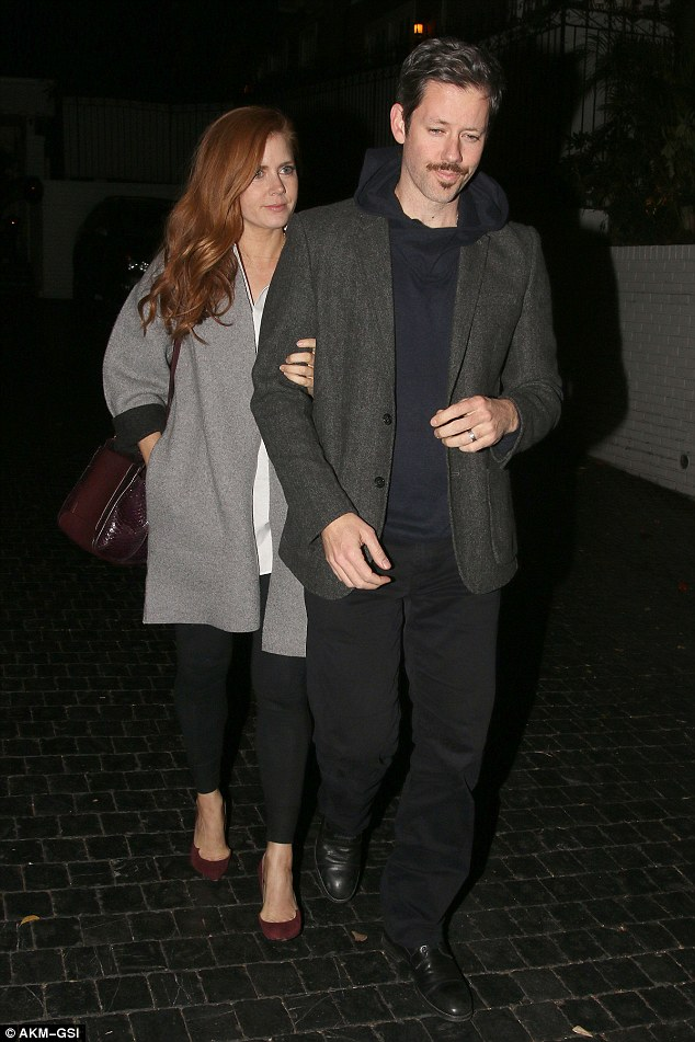 Date night! Amy Adams, 41, held onto her husband's arm, Darren Le Gallo, 41, as they were spotted leavingChateau Marmont in West Hollywood on Friday night
