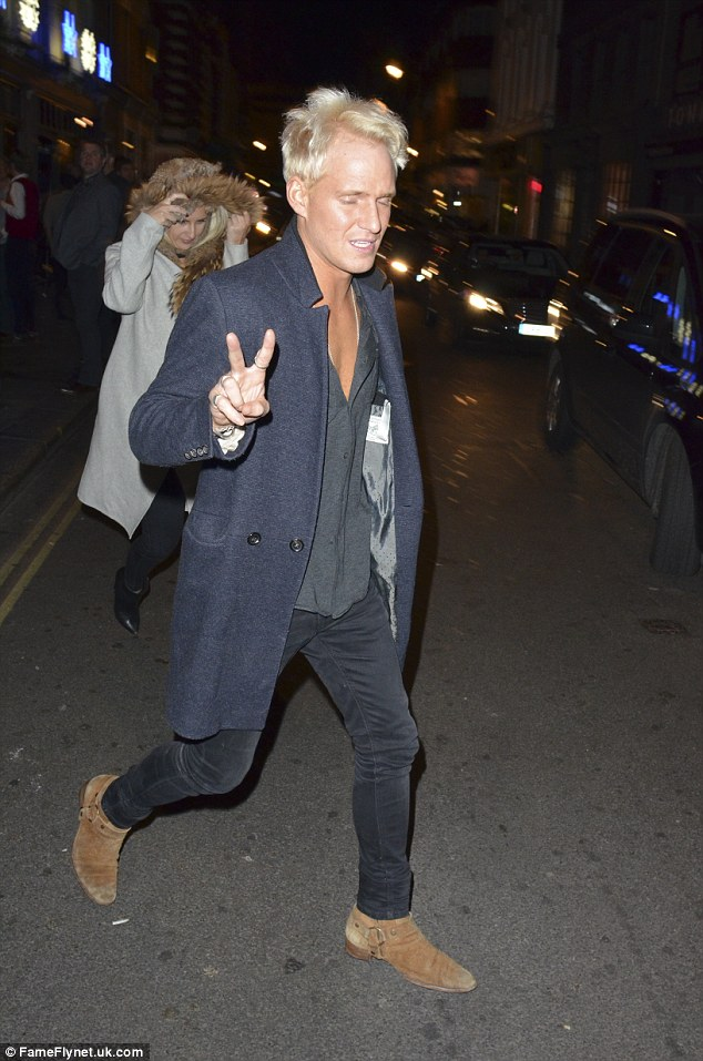 Peace: Made In Chelsea's Jamie Laing also appeared to be a part of a different crowd