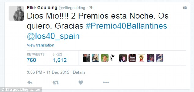 Grateful:She took to Twitter to thank her Spanish fans for the win, writing in Spanish (translated): 'OMG!!!! 2 Prizes tonight. I love you. Thank you' [sic]