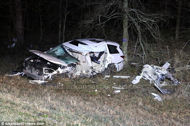 Deadly smash: Chris was killed when the car he was travelling in careened off U.S. Highway 70 East and crashed into a tree in Hot Springs, Arkansas