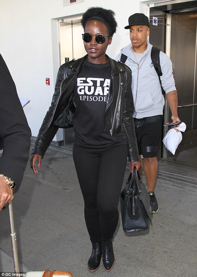 Showing her support! Lupita Nyong'o wore an 'Estar Guars' T-shirt as she arrived at LAX on Friday, following a Star Wars fan event in Mexico