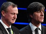 PARIS, FRANCE - DECEMBER 12:  Group C managers, Volodymyr Onyshchenko assistant coach of Ukraine, Adam Nawalka Manager of Poland, Michael O'Neill Manager of Northern Ireland and Joachim Low Manager of Germany pose for photographs during the UEFA Euro 2016 Final Draw Ceremony at Palais des Congres on December 12, 2015 in Paris, France.  (Photo by Pascal Le Segretain/Getty Images)