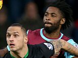 """Stoke City's Marko Arnautovic and West Ham United's Alex Song (right) battle for the ball during the Barclays Premier League match at Upton Park, London. PRESS ASSOCIATION Photo. Picture date: Saturday December 12, 2015. See PA story SOCCER West Ham. Photo credit should read: John Walton/PA Wire. EDITORIAL USE ONLY No use with unauthorised audio, video, data, fixture lists, club/league logos or """"live"""" services. Online in-match use limited to 75 images, no video emulation. No use in betting, games or single club/league/player publications."""