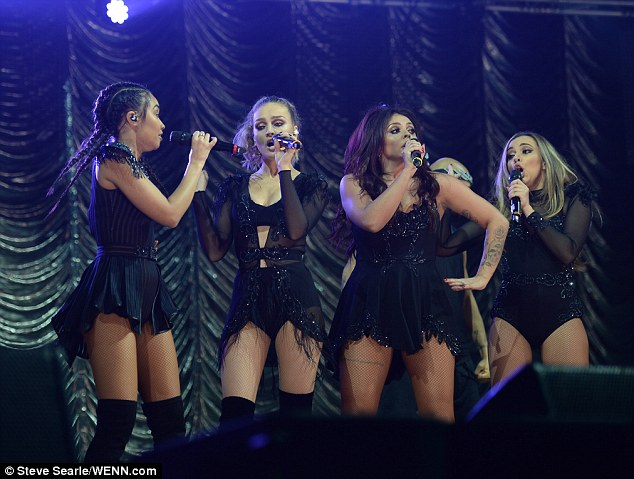 Girl squad:Accompanied by her bandmates - Leigh-Anne Pinnock, 24, Jade Thirlwall, 22, and Jesy Nelson, 24 - the British beauty seemed to be having a great time during the performance
