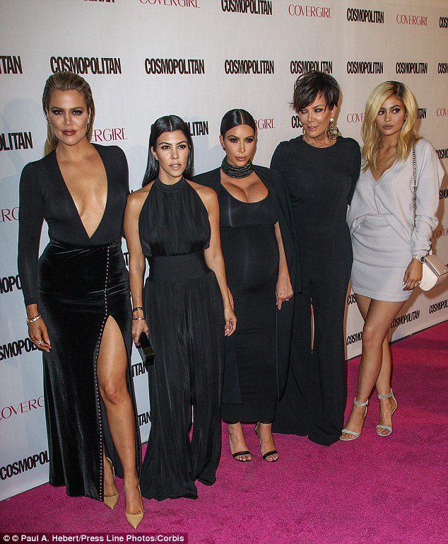 Matriarch: Kris (centre), here with daughtersKhloe, Kourtney, Kim and Kylie, is a mother of six and grandmother of five