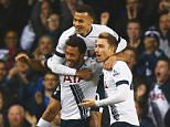 Mousa Dembele of Tottenham Hotspur is mobbed by team mates Dele Alli and Christian Eriksen as he celebrates scoring their frst goal during the Barclays Premier League match between Tottenham Hotspur and Aston Villa at White Hart Lane on November 2, 2015 in London, England.     LONDON, ENGLAND - NOVEMBER 02:   (Photo by Clive Rose/Getty Images)
