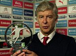 Arsene Wenger picks up the 2015 FSF Player of the year award, in association with William Hill, on behalf of the injured Alexis Sanchez. Picture is free to use and there is no reproduction charge.