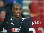 SUNDERLAND, ENGLAND - DECEMBER 12: Odion Ighalo of Watford celebrates scoring his team's first goal with his team's first goal with his team mates during the Barclays Premier League match between Sunderland and Watford at the Stadium of Light on December 12, 2015 in Sunderland, United Kingdom.  (Photo by Ian MacNicol/Getty Images)