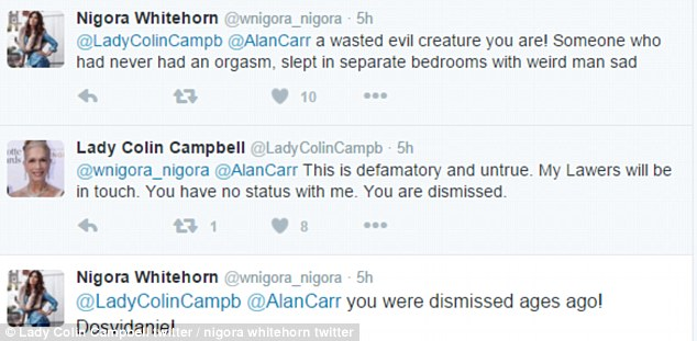 Here we go again! Nigora Whitehorn started a Twitter spat with Lady Colin Campbell on Friday, which saw the 66 year-old inevitably hit back in what became an ugly - and very public - war of words