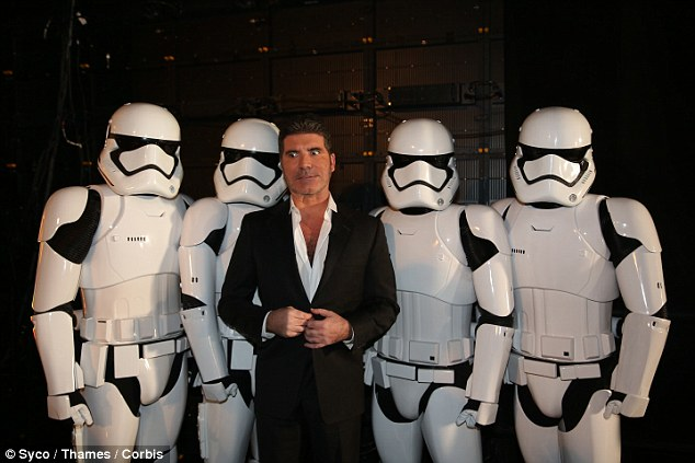 The Dark Lord of pop? Simon made a dramatic entrance with the help of Star Wars' Stormtroopers